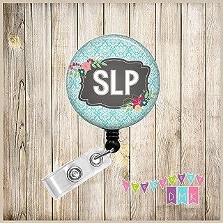 Speech Language Pathology - SLP - Teal Damask - Floral - Button Badge Reel - BR0048