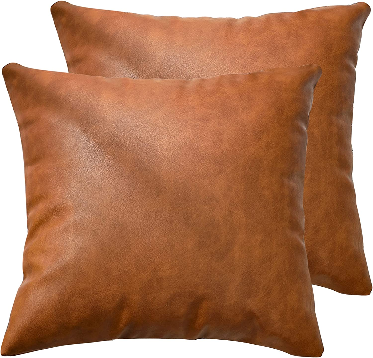 KKY Faux Leather Farmhouse Throw Pillow Cover inch 18x18 Modern Financial sales sale Attention brand