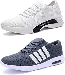 Shoefly Men Multicolour Combo Pack of 2 Exclusive Range of Casual Sports Running Shoes (Combo-(2)-9064-9212)