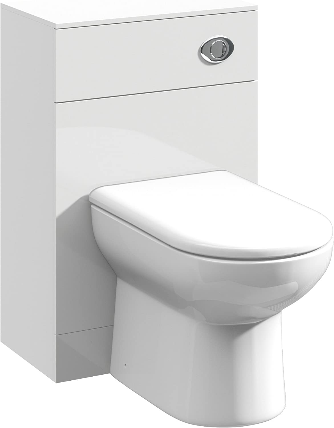 500 x 300mm High White Gloss WC Toilet Furniture Unit and Linton BTW Back to Wall Pan & Soft-Closing Seat
