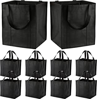 10 Pack Large Reusable Grocery Bags with Reinforced Handles - Heavy Duty Shopping Tote bags can Hold 50 LBS, Flodable, Eco...