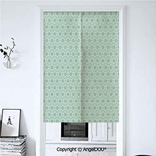 AngelDOU Green Summer Automatic Closing Curtains Valances Stylized Stars Vintage Pattern Retro Colors Seventies Style Decorative Door Screen Partition Curtain 39.3x59 inches