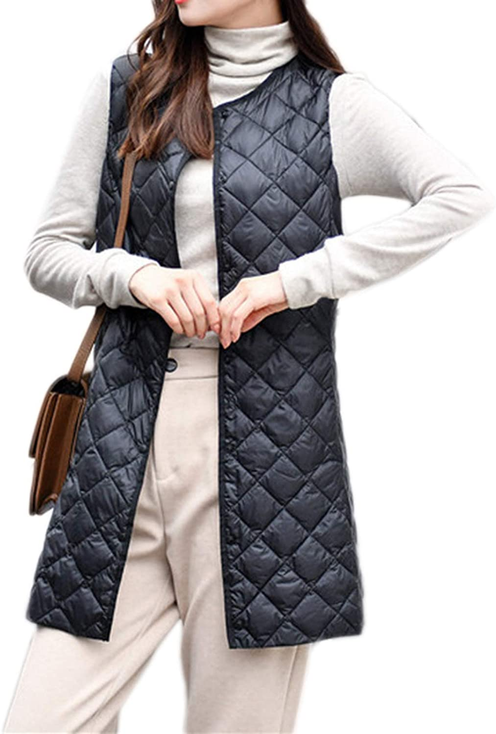 Womens Mid-Long Sale Quilted Vest with 67% OFF of fixed price Bu Round Padded Collar Thicken