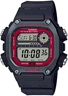 10 Year Battery Quartz Watch with Resin Strap, Black, 27.2 (Model: DW-291H-1BVCF)