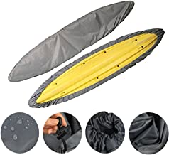 iiSPORT Kayak Cover Waterproof Canoe Storage Dust Sunblock Cover Offers UV Protection for Fishing Boat, Hobie Pro Angler, Rowing Shell & Paddle Board