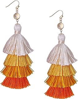 Multi-Layers Tassel Drop Earrings Hoop Earrings Handmade Bohemia Dangle Earrings New Summer