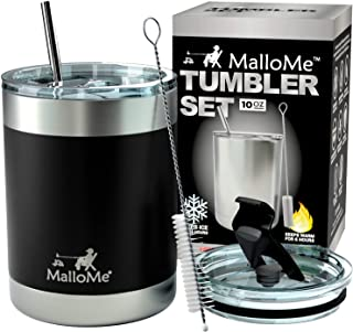 MalloMe Stainless Steel Vacuum Insulated 5-Piece Tumbler Set, Black 10 oz