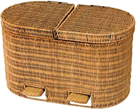 Outdoor Dustbins Bins Sorting Trash Cans Natural Rattan Weaving Rubbish Bin Garbage Can Outdoor Trash Can Bins (Color : Ye...