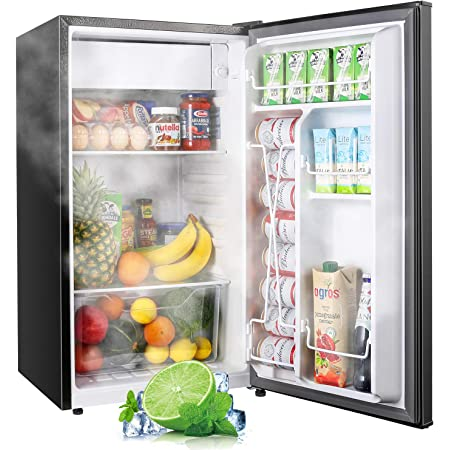 TECCPO Mini Fridge with Freezer TAMF32, 3.1 Cu.Ft, Low Noise, Energy Star, 6 Settings Temperature Adjustable, Mini Fridge for Bedroom, Dorm