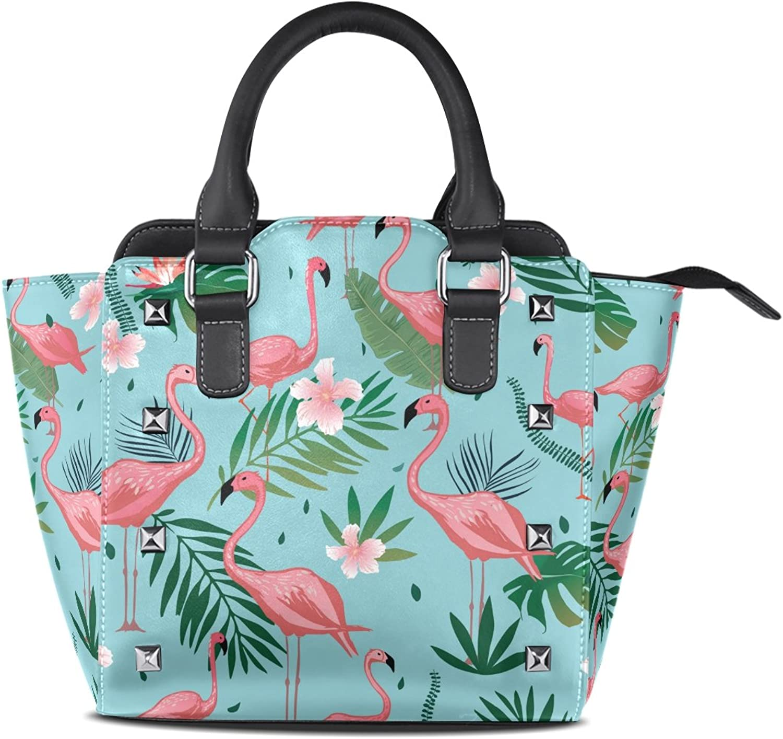 My Little Nest Women's Top Handle Satchel Handbag Pink Flamingo Tropical Leaves Flowers Ladies PU Leather Shoulder Bag Crossbody Bag