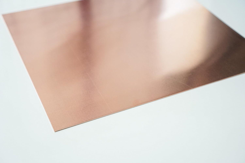 100 x 100 mm Zuschnitt nach Ma/ß Gr/ö/ße: 10 x 10 cm Qualit/ät nach DIN EN 1172 halbhart bestell-dein-Blech Metall Kupferblech 0,6 mm stark