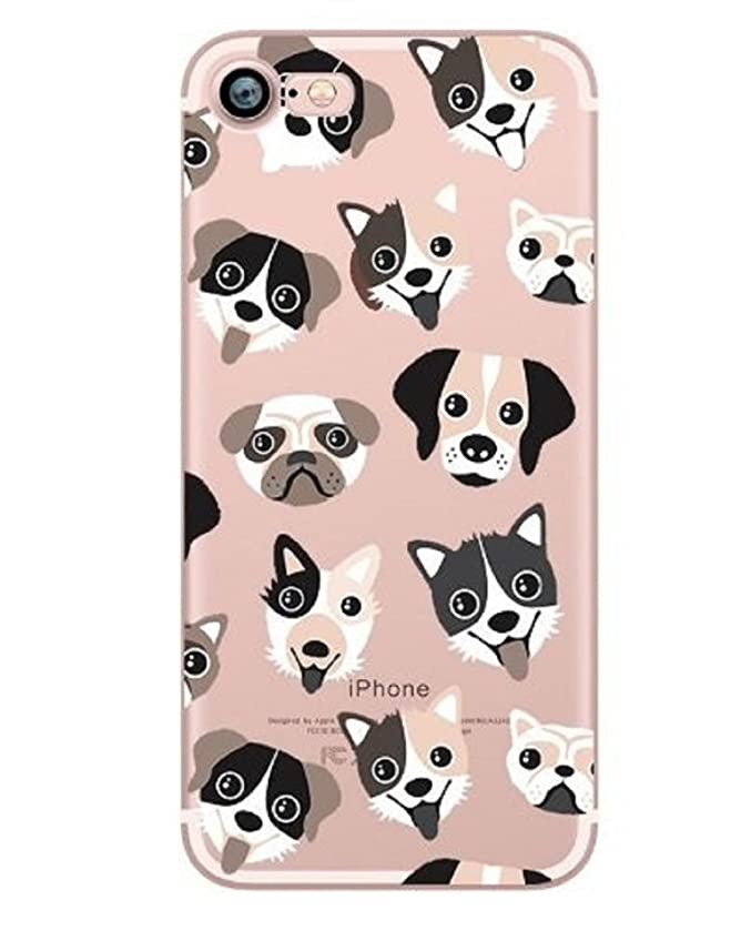 iPhone 8 Plus / 7 Plus Compatible, Colorful Rubber Flexible Silicone Case Bumper Clear Cover - Dog Puppy Lover (Puppy Dog Toungues Out)