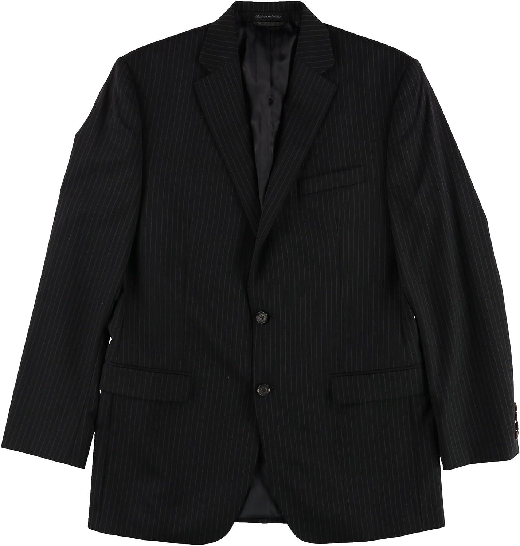 Ralph Lauren Mens Classic Pinstripe Two Button Blazer Jacket, Black, 40 Long