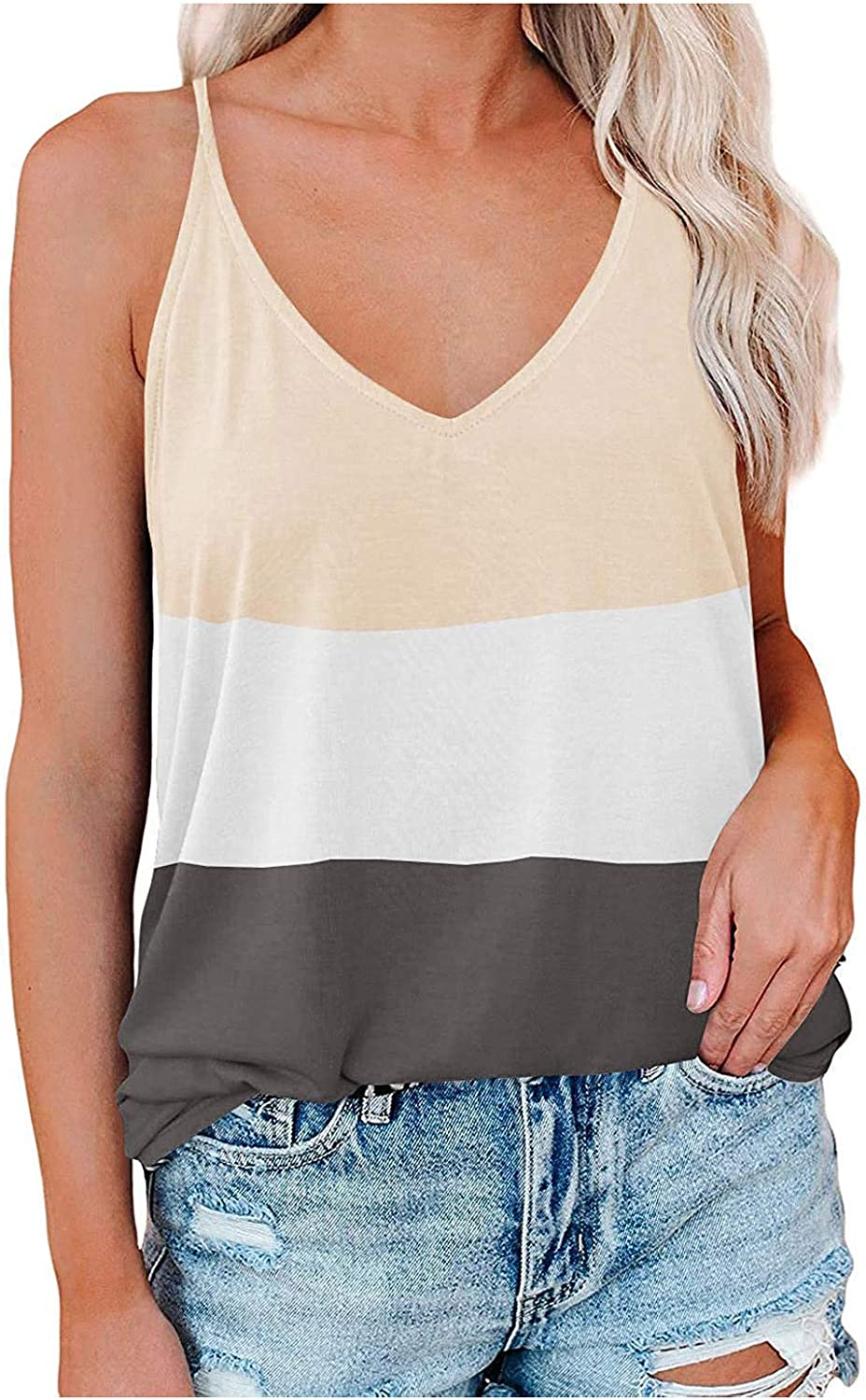 ovticza Womens Tops Women Fashion Patchwork Color Vest Tops V-Neck Sleeveless Camisole Tank Top