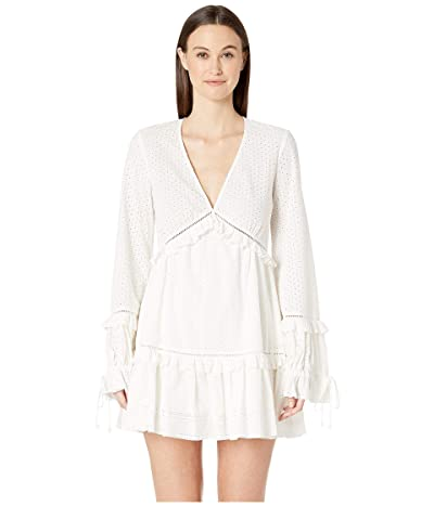 Jonathan Simkhai Embroidered Ruffle Long Sleeve Dress (White) Women