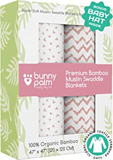 Muslin Swaddle Blankets - Organic Bamboo Set of 2 Baby Blanket - Large Nursery Swaddle Wrap in Pink Hearts and Chevrons - Receiving Blankets for Newborn Girl