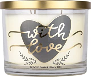 """Aromascape PT41466""""with Love"""" 3-Wick Scented Candle (Fresh Lavender, Cotton Blossom and Vanilla), 11-Ounce"""