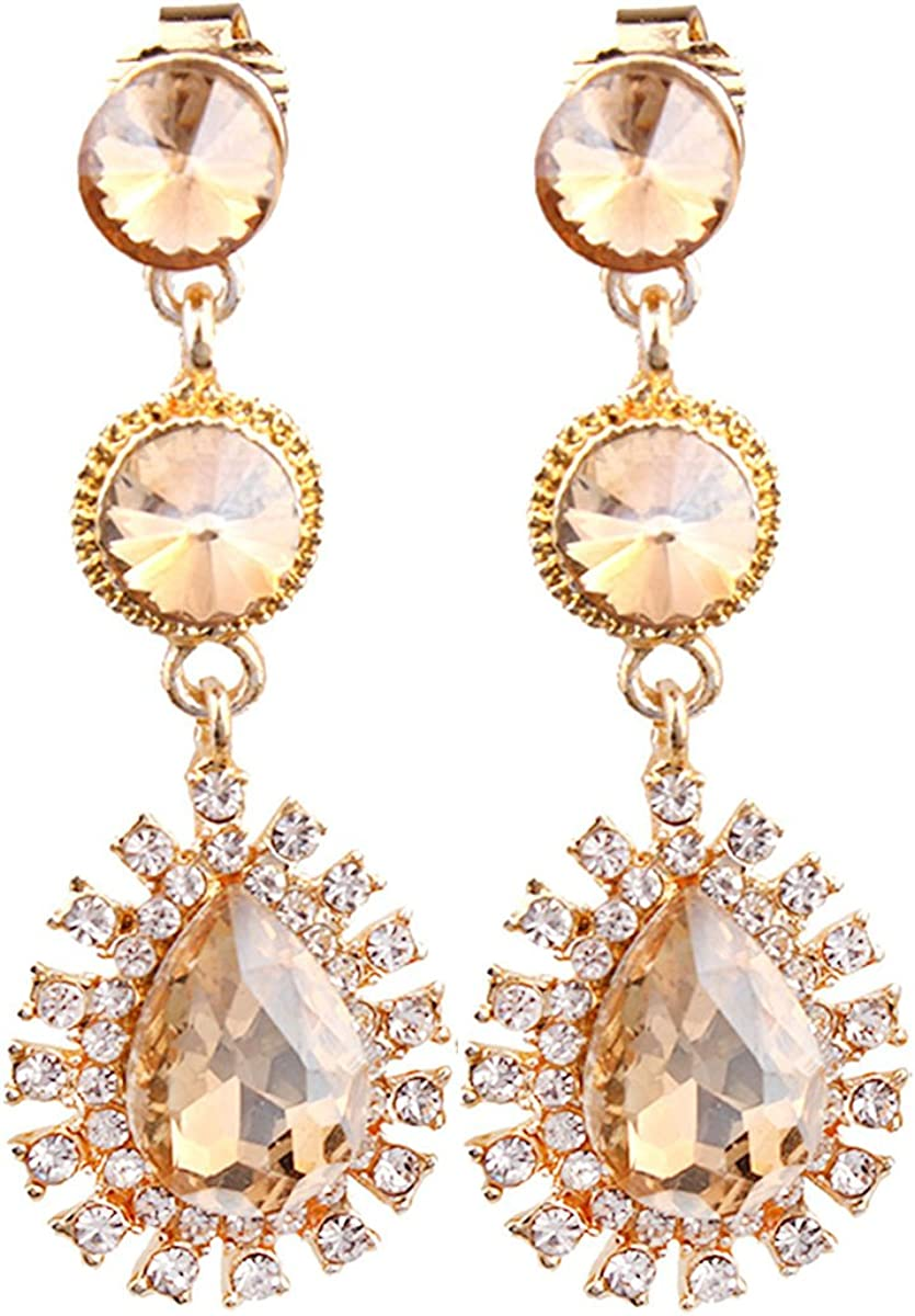 Nice Honey 18K Gold Plated Rhinestone &Crystal Clip on Earrings for Wedding Pagement Prom
