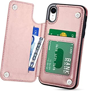 HianDier Wallet Case for iPhone XR, Slim Protective Case with Credit Card Slot Holder Flip Folio Soft PU Leather Magnetic Closure Cover Case Compatible with iPhone XR 6.1 inches (2018), Rose Gold