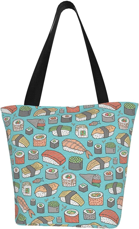 Japanese Sushi Kawaii Cute Blue Themed Printed Women Canvas Handbag Zipper Shoulder Bag Work Booksbag Tote Purse Leisure Hobo Bag For Shopping