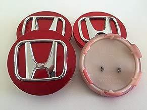 4x Honda 70mm Alloy Wheel Badges Center Hub Caps cromo rojo Accord Civic CV de R