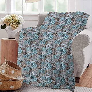 Luoiaax Garden Art Bedding Microfiber Blanket Botanical Roses Bouquet with Impressionist Shabby Chic Design Super Soft and Comfortable Luxury Bed Blanket W57 x L74 Inch Grey Cadet Blue Pale Pink
