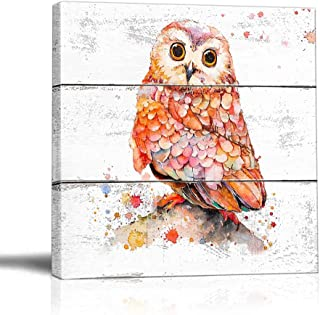 BOLUO Owl Wall Art for Kids Framed Canvas Painting Nursery Bedroom Baby Room Decor Rustic Picture Prints Red 12x12in (Owl)