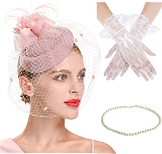 Veil Fascinator for Women Vintage Pillbox Hat with Short Lace Gloves Pearl Necklace Tea Party Wedding Funeral Birdcage Veil