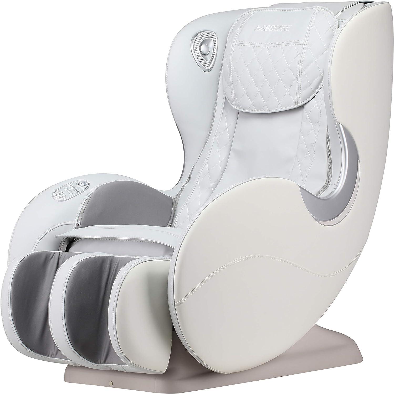 BOSSCARE Small Massage Chairs SL Track Full Body Massage Recliner, Shiatsu Recliner, Space-Saving Design, Zero Gravity, Bluetooth Speaker (Beige GR8526 LED): Furniture & Decor