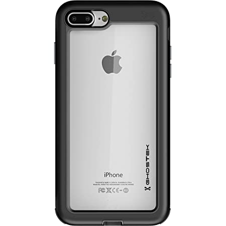Ghostek Atomic Slim iPhone 8 Plus, iPhone 7 Plus Clear Case with Space Metal Bumper Heavy Duty Protection Wireless Charging Compatible for 2016 iPhone 7 Plus / 2017 iPhone 8 Plus (5.5 Inch) - (Black)