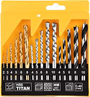 KATA 16pcs Combination Drill Bit Set HSS Masonry Woodworking Twist Drill Bit for Metal Wood Concrete Brick
