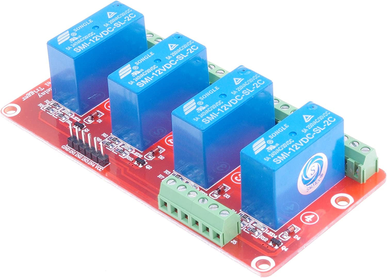 SMAKN 4 Channel SMI-12VDC-SL-2C DC 12V Double Power Relay High Level Optocoupler Relay Module