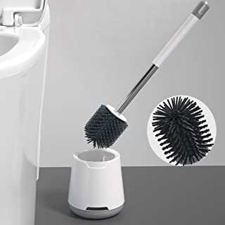 COFOND Silicone Flex Toilet Brush Holder, Toilet Cleaner Brush with No-Slip Long Handle, Quick Drying Floor Standing Bathr...