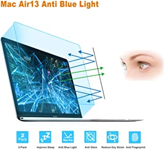 FORITO Anti Blue Light Anti Glare Screen Protector Comaptible MacBook Air 13 A1932 with Retina Display and Touch ID, 2-Pack Eye Protection Blue Light Blocking for 2019 2018 MacBook Air 13 Inch