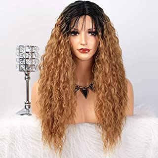ENTRANCED STYLES Long Curly Ombre Wigs for Women Dark Roots Honey Blonde Middle Part Wig with Baby Hair Natural Looking Heat Resistant Water Wave Wig