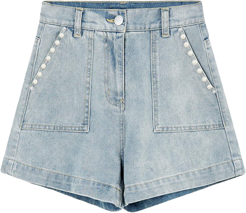 Andongnywell Women's Casual High Waist Hem Wide-Leg Jean Shorts Ladies Short Denim Trousers with Pockets