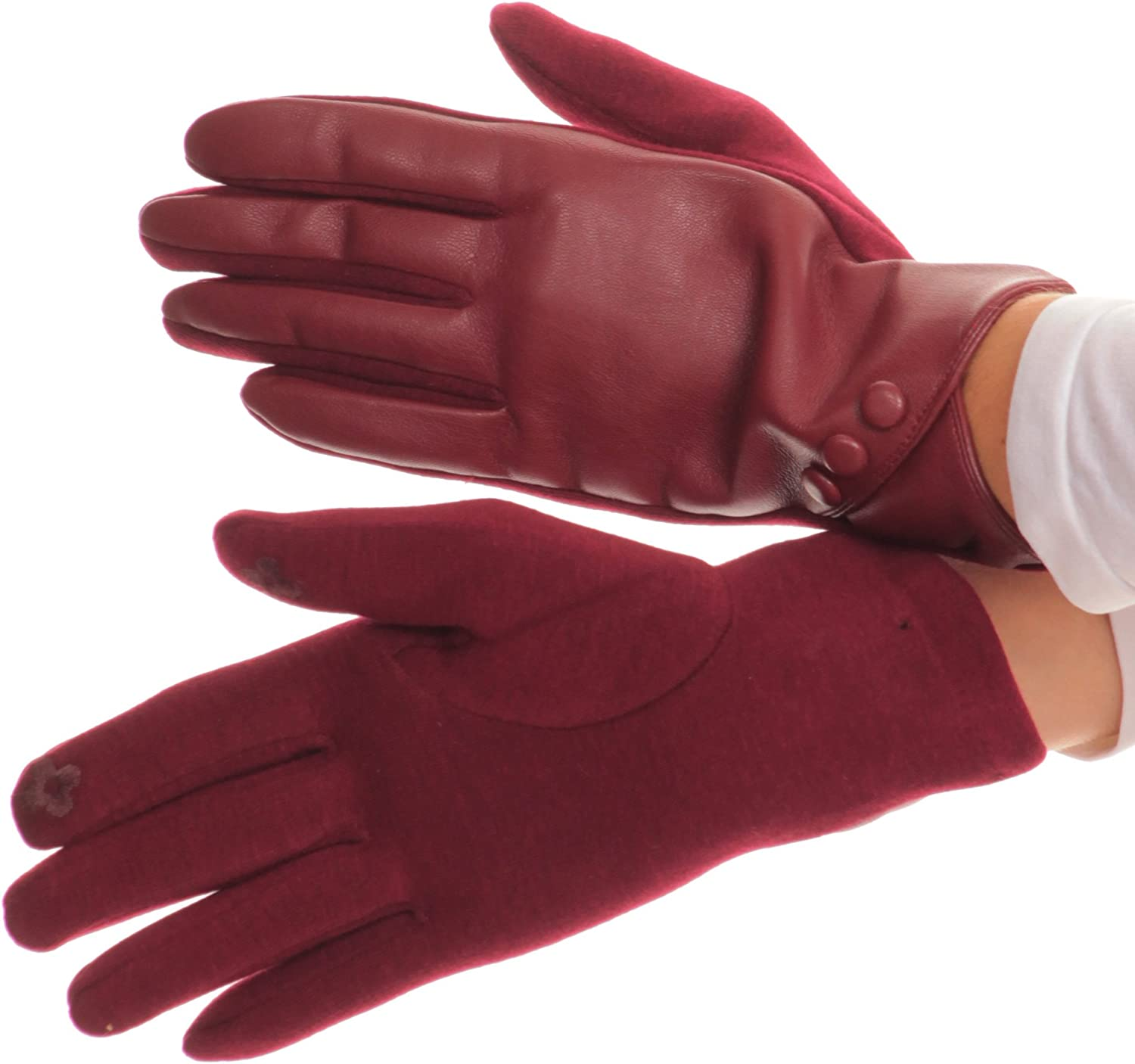 Sakkas Pamb Faux Leather Heather Knit Button Front Warm Winter Touch Screen Gloves