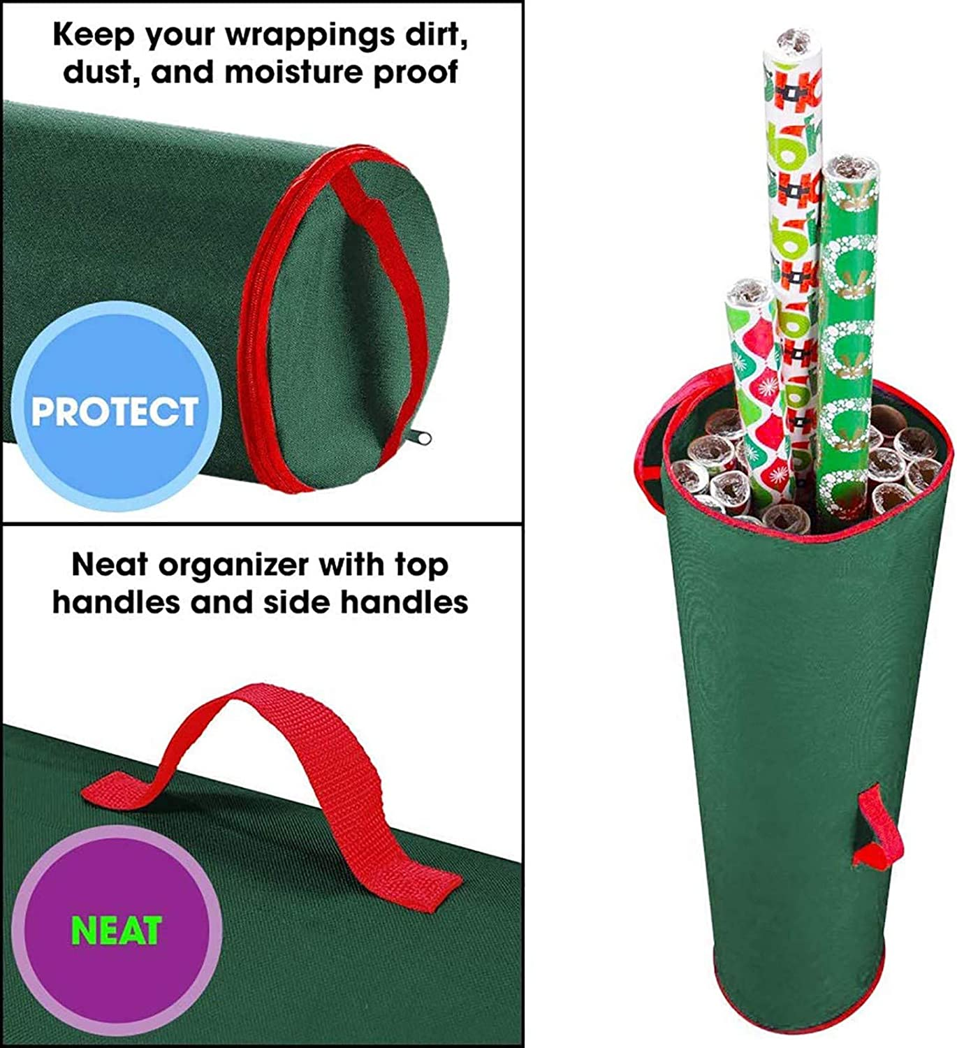 Tags Bows Christmas Storage Bags Boxs with Zips Organiser Stores Baubles Paper SO-buts Christmas Wrapping Paper Storage Bag Container Fits 14-20 Gifts Wrap Rolls Green