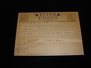 1950 Mel Allen Signed Western Union Telegram - MLB Cut Signatures
