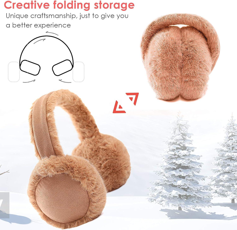 DERCLIVE Cache-oreilles dhiver pliable chaud en fourrure pour femmes et filles