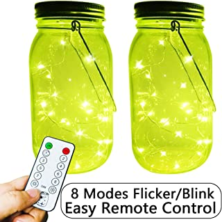 Solar Powered Firefly Jar Lights, 2-Pack Large Size Clear Mason Jar Build-in 20 LEDs Yellow-Green Fluorescence Fairy Led String Lights, Remote 8 Modes Flicker/Twinkle Lamp,Outdoor Solar Lanterns