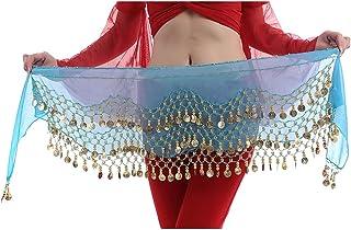 comprar comparacion Hee Grand 3filas danza del vientre baile Hip bufanda falda cinturón con 128monedas, Todo el año, Mujer, color Lago Azul,...
