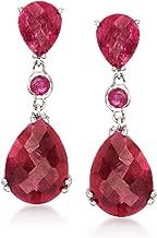 Ross-Simons 14.60 ct. t.w. Ruby Drop Earrings in Sterling Silver