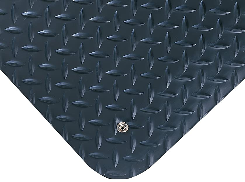 Wearwell 786 Diamond-Plate Electrically Conductive Anti-Fatigue Mat with Snap, for Dry Areas, 2' Width x 3' Length x 9/16