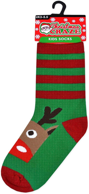 JollyRascals Girls Christmas Socks Xmas Warm Winter Novelty Festive Gift Ankle Socks UK Sizes