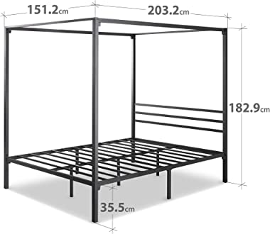 Zinus Patricia Queen Bed Frame - Black Canopy Four Poster Bed with Metal Slats