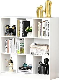HOMCOM Estantería Librería con 8 Compartimentos Estantería de Exposición Libros Estilo Moderno para Sala de Estar Dormitor...