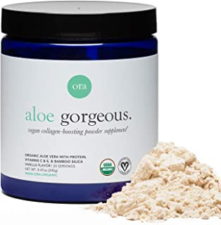 Ora Organic Vegan Collagen Powder for Hair, Skin, Nails & Joint Support - Collagen Booster with Plant-Based Protein, Organic Vitamin C, Bamboo Silica, Aloe Vera - Vanilla Flavor, 20 Servings