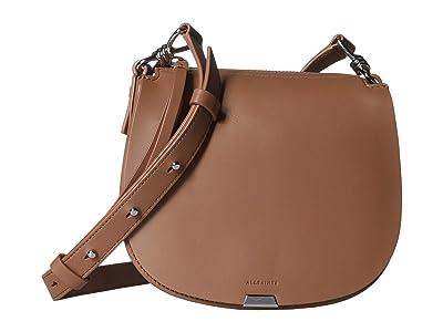 AllSaints Captain Small Round Crossbody (Chocolate Brown) Handbags