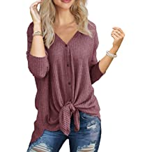 633cfff3b30a1 IWOLLENCE Womens Waffle Knit Tunic Blouse Tie Knot Henley Tops Loose  Fitting Bat .